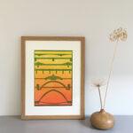 Seven bridges over the river Tyne, original linocut print